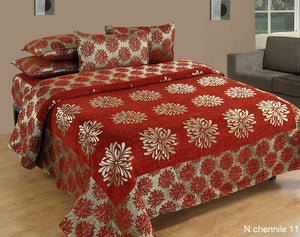 Morning Blossoming Flowers Chenille Bedcovers - F