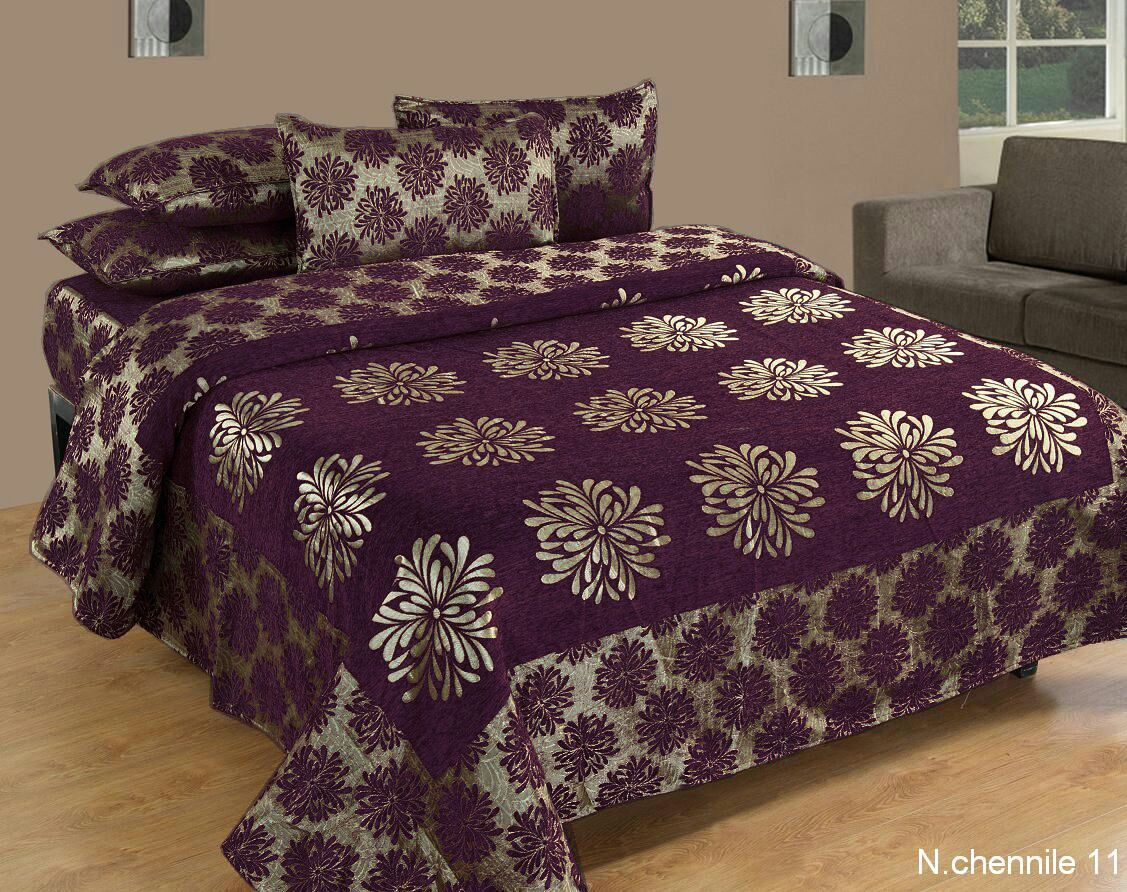 Morning Blossoming Flowers Chenille Bedcovers - E