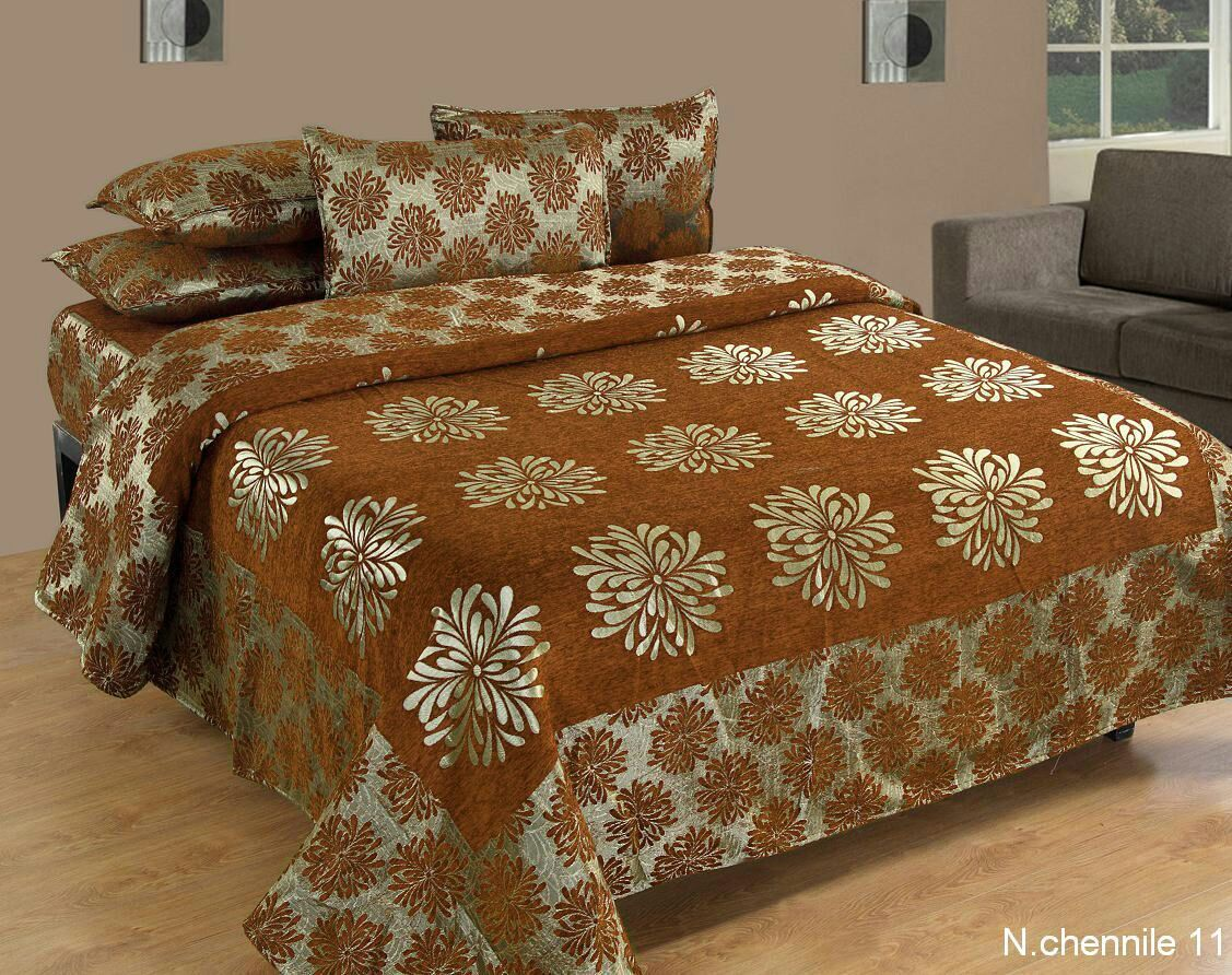 Morning Blossoming Flowers Chenille Bedcovers - B