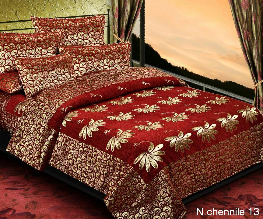 Essence of Peacock Chenille Bedcovers - Red