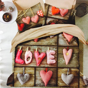 outofstuff Love & Heart Glace Cotton Bedsheet