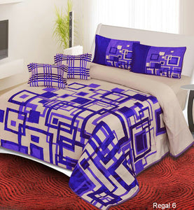 Channel of Maze Reversible Cotton Bedsheet - Purple