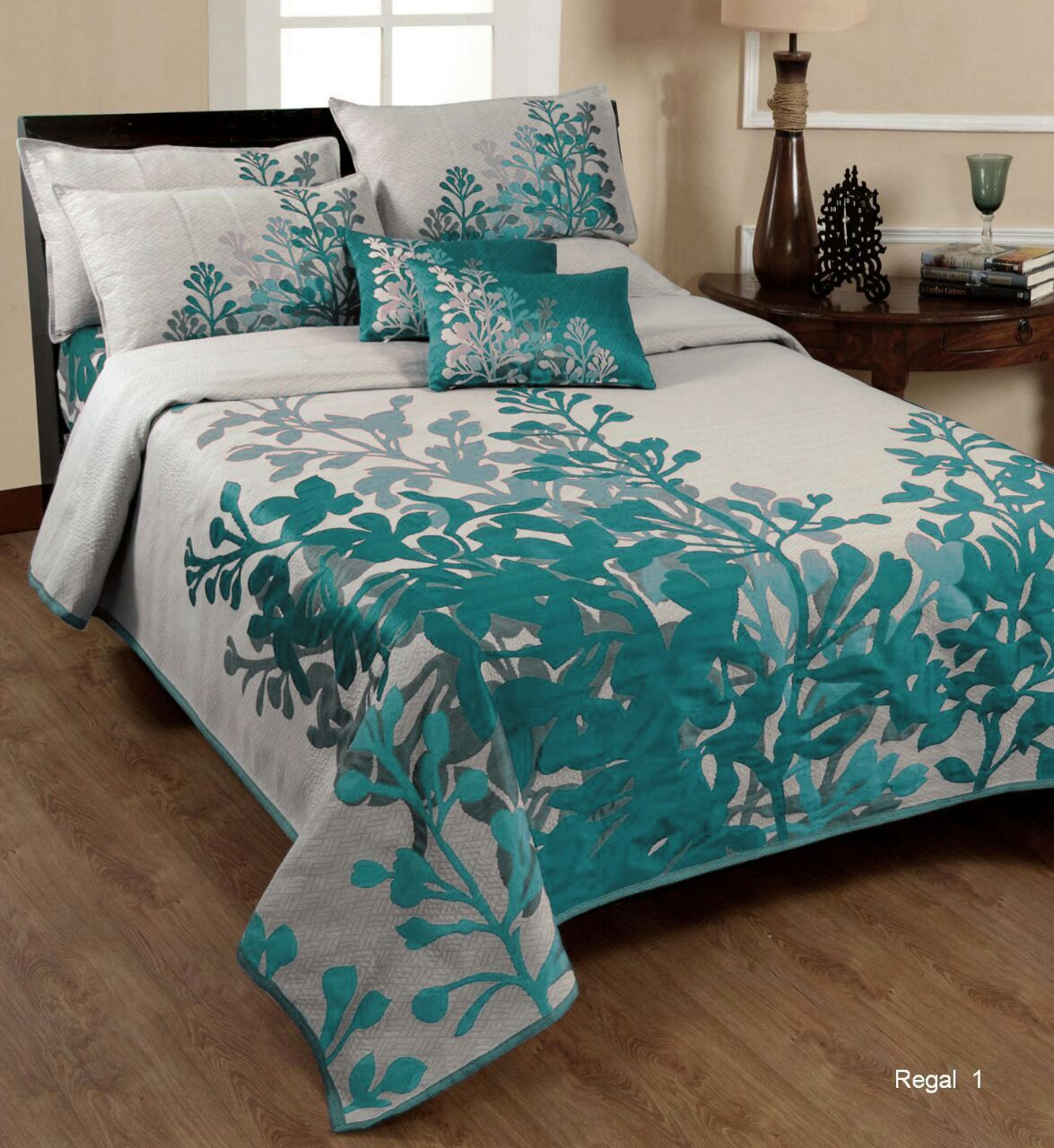Tree of Desire Reversible Cotton Bedsheet - Cadet Blue