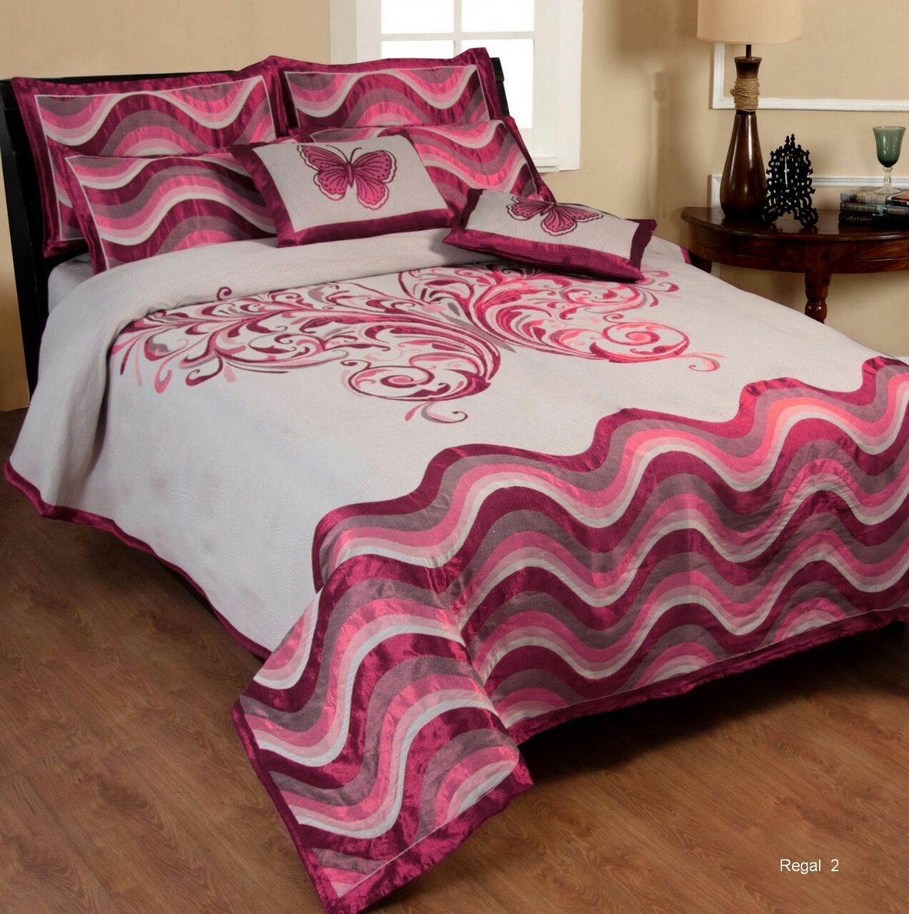 Dreaming Buttefly Reversible Cotton Bedsheet - Pink