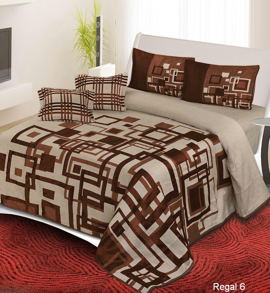 Channel of Maze Reversible Cotton Bedsheet - Chocolate