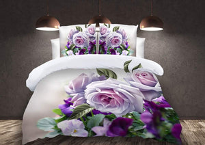 Purples and Roses Glace Cotton Bedsheet