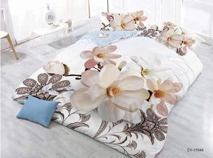 World of White Rose Glace Cotton Bedsheet