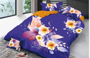Magic of Blue and Roses Glace Cotton Bedsheet