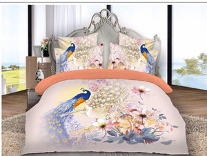 Realm of Peacocks and Flowers - Glace Cotton Bedsheet