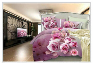 World of Pink Flowers Glace Cotton Bedsheet