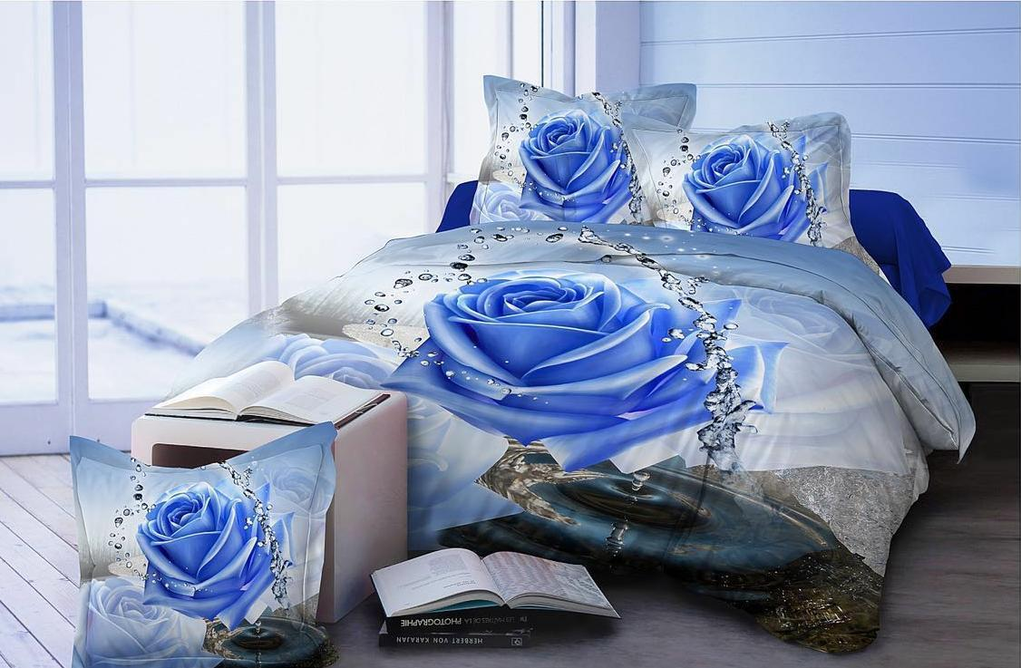 Flowers Alluring Crystal Water Glace Cotton Bedsheet