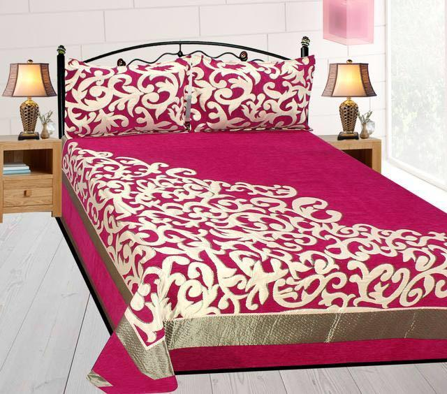 Work of Art Royal Heavy Chenille Bedcovers- Luxury Pink