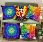 Mystic Girl Illusion Jute Cushion Covers - Multi-Color 5 piece/set