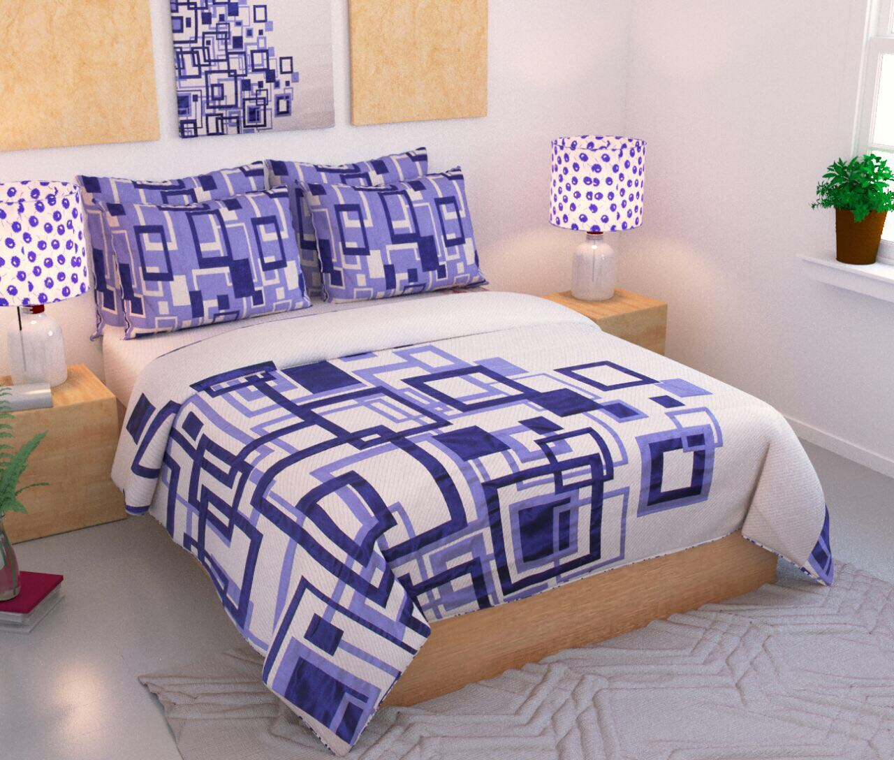 Channel of Maze Reversible Cotton Bedsheet - Royal Blue