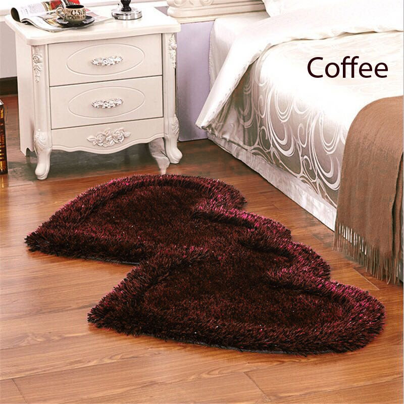 Twin Heart Bedside Runners - Coffee Color