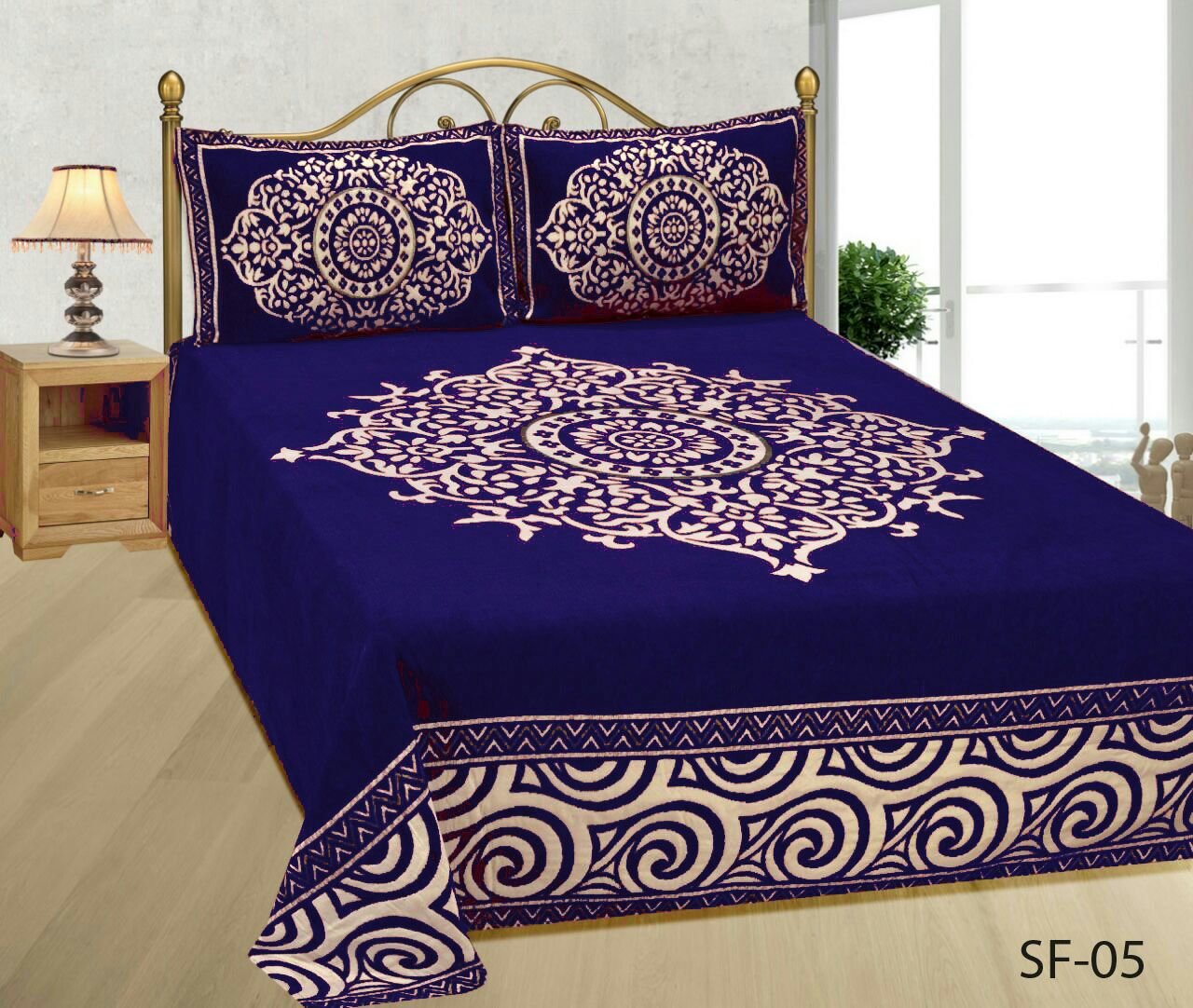 Medieval Royal Arts Heavy Chenille Bedcover- Royal Blue