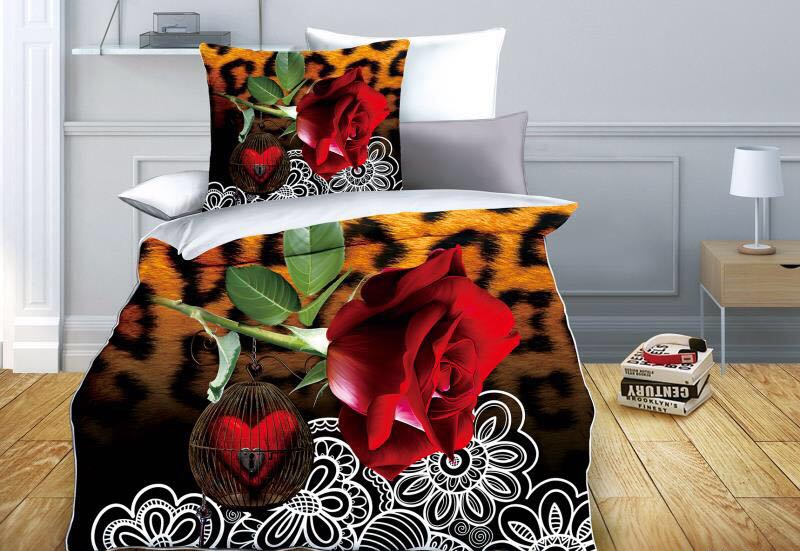 Forever Bond - Lock my Heart- Glace Cotton Bedsheet