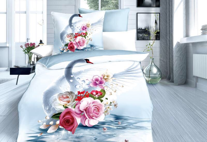 Swan and flowers- Cotton Bedsheet