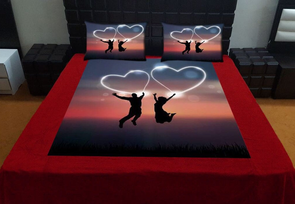 Digital Print Velvet Bedsheet - Flying Hearts