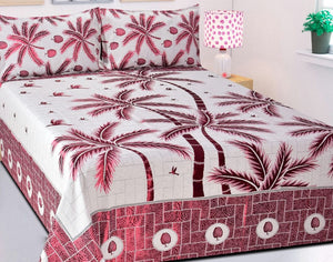 Prestige of Palm Trees Reversible Cotton Bedsheet - Pink