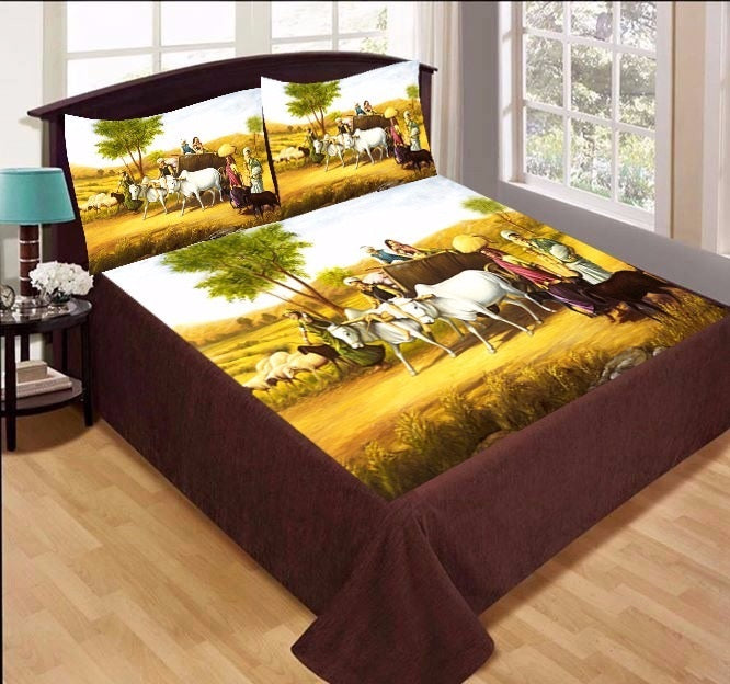 Digital Print Velvet Bedsheet - Village