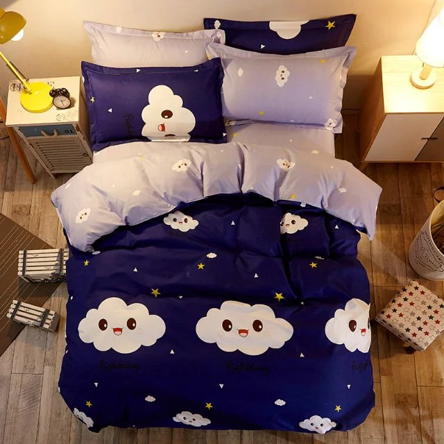 Clouds & Stars Glace Cotton Bedsheet