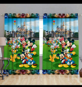 Digital Heavy Long Crush Curtains - Mickey in Disneyland