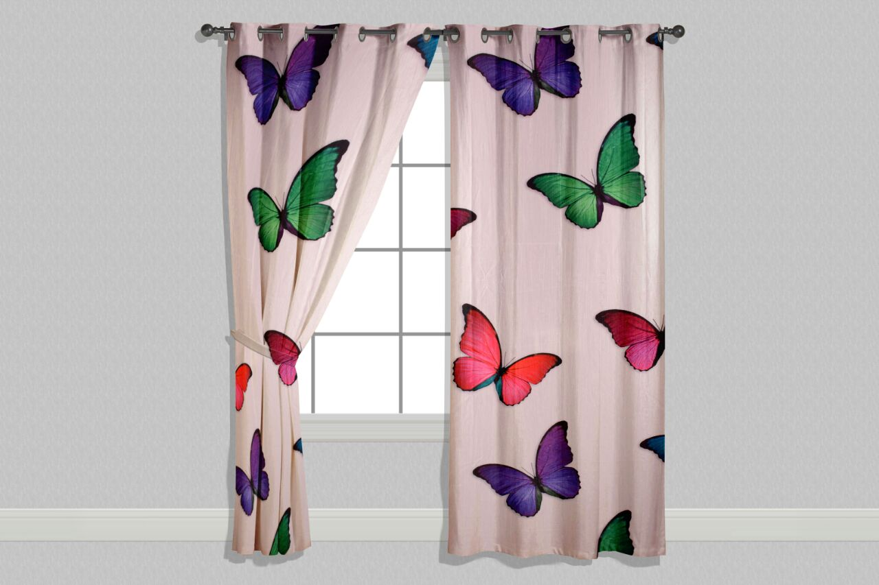 Digital Heavy Long Crush Curtains - Butterfly