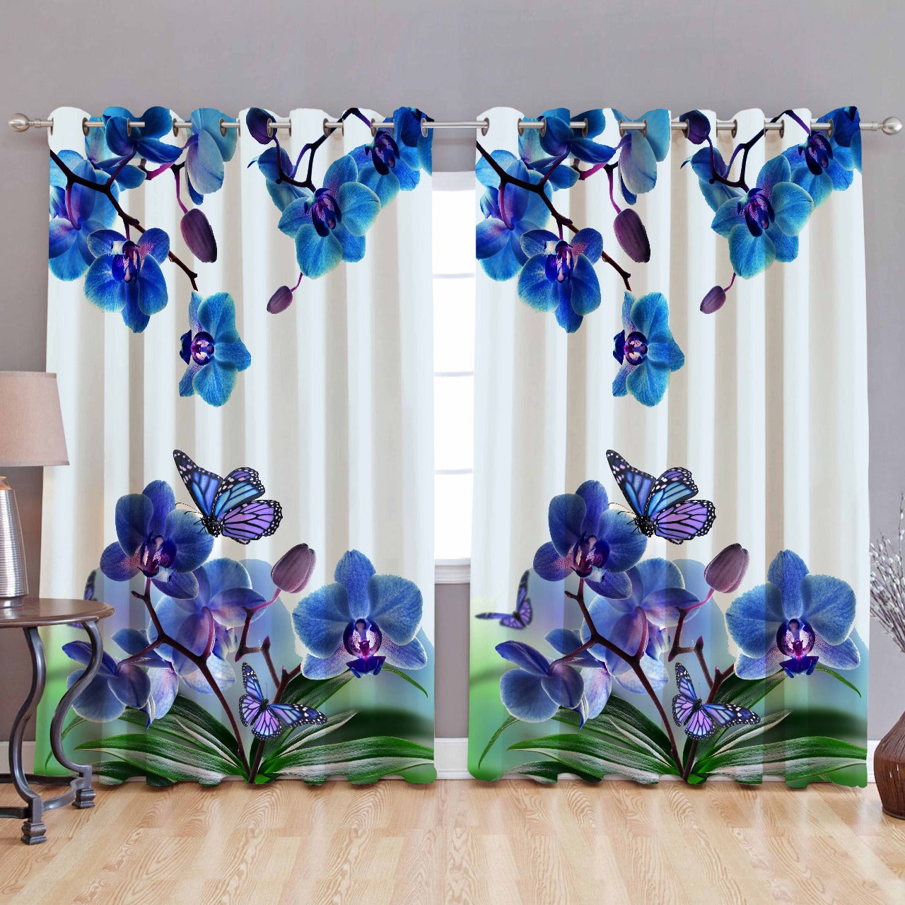 Digital Heavy Long Crush Curtains - Purple Consonance Butterfly & Flowers