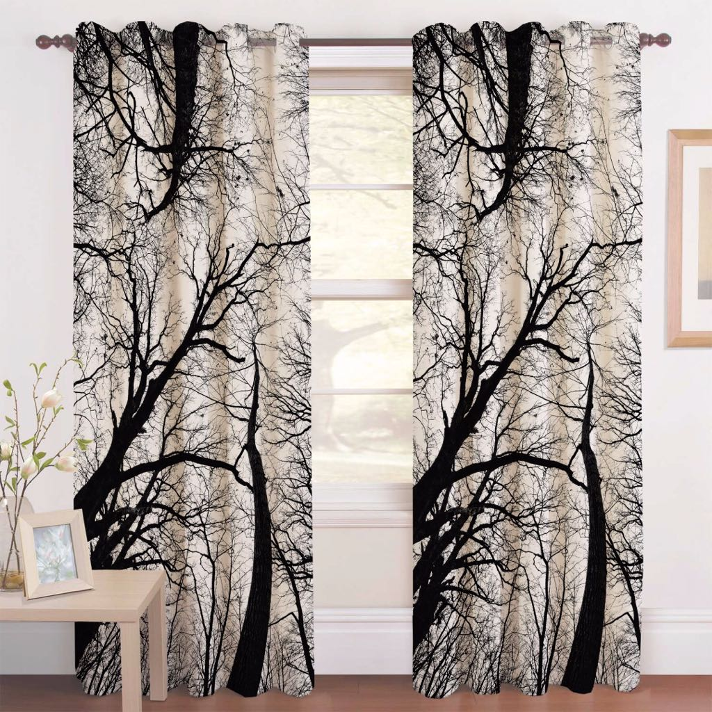 Digital Heavy Long Crush Curtains - Lost in Woods