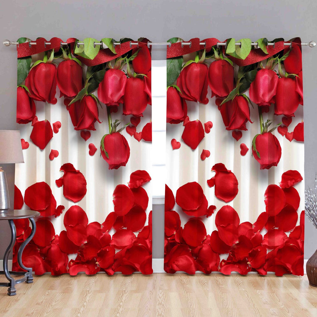 Digital Heavy Long Crush Curtains - Rose Romance