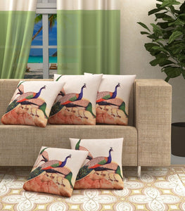 Peacock Rocks Jute Cushion Covers - Multi-Color 5 piece/set