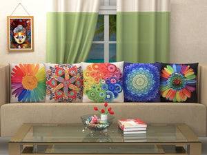 Miscellany of Illusions Jute Cushion Covers - Multi-Color 5 piece/set