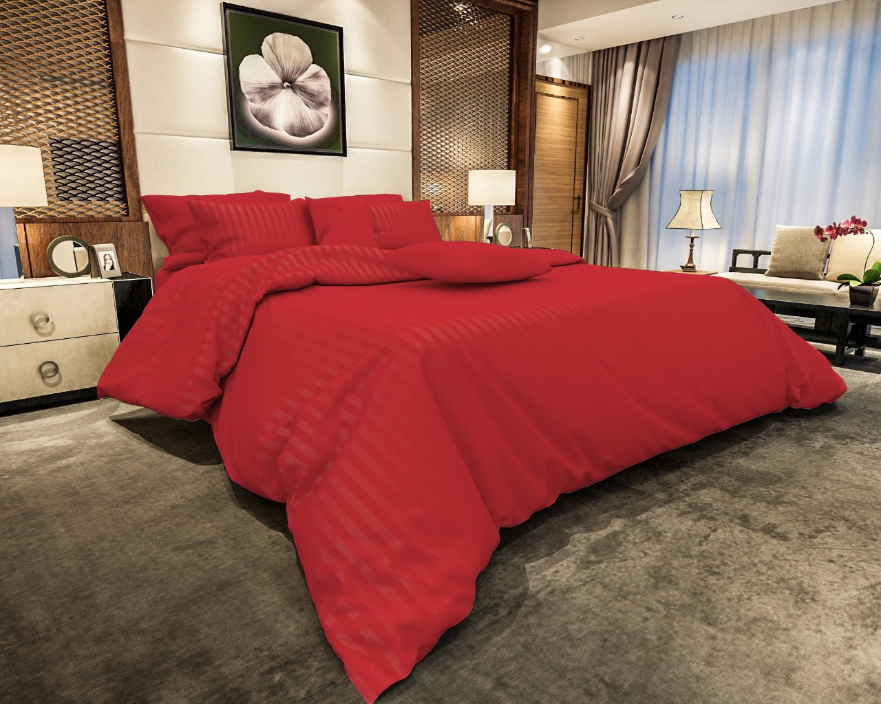 Cotton Satin Stripe Bedsheets - Red