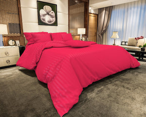 Cotton Satin Stripe Bedsheets - Ruby Pink