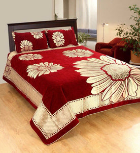 Floral Pattern Heavy Chenille Bedcover - Red