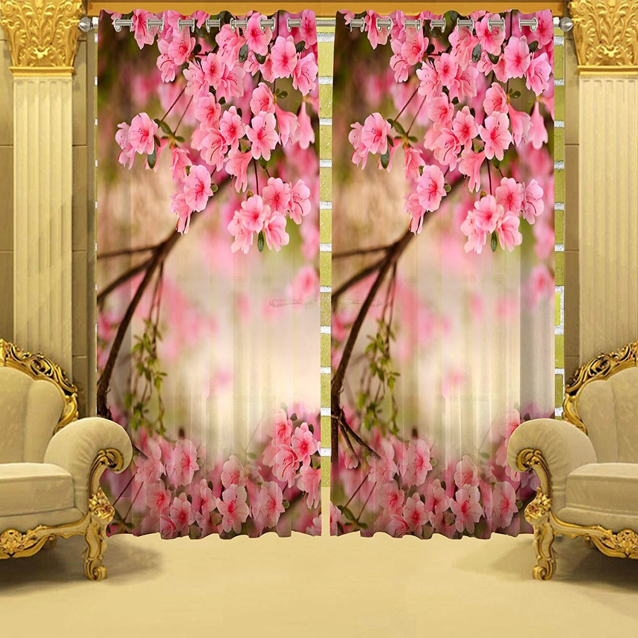 Digital Heavy Long Crush Curtains - World of Pink Flowers
