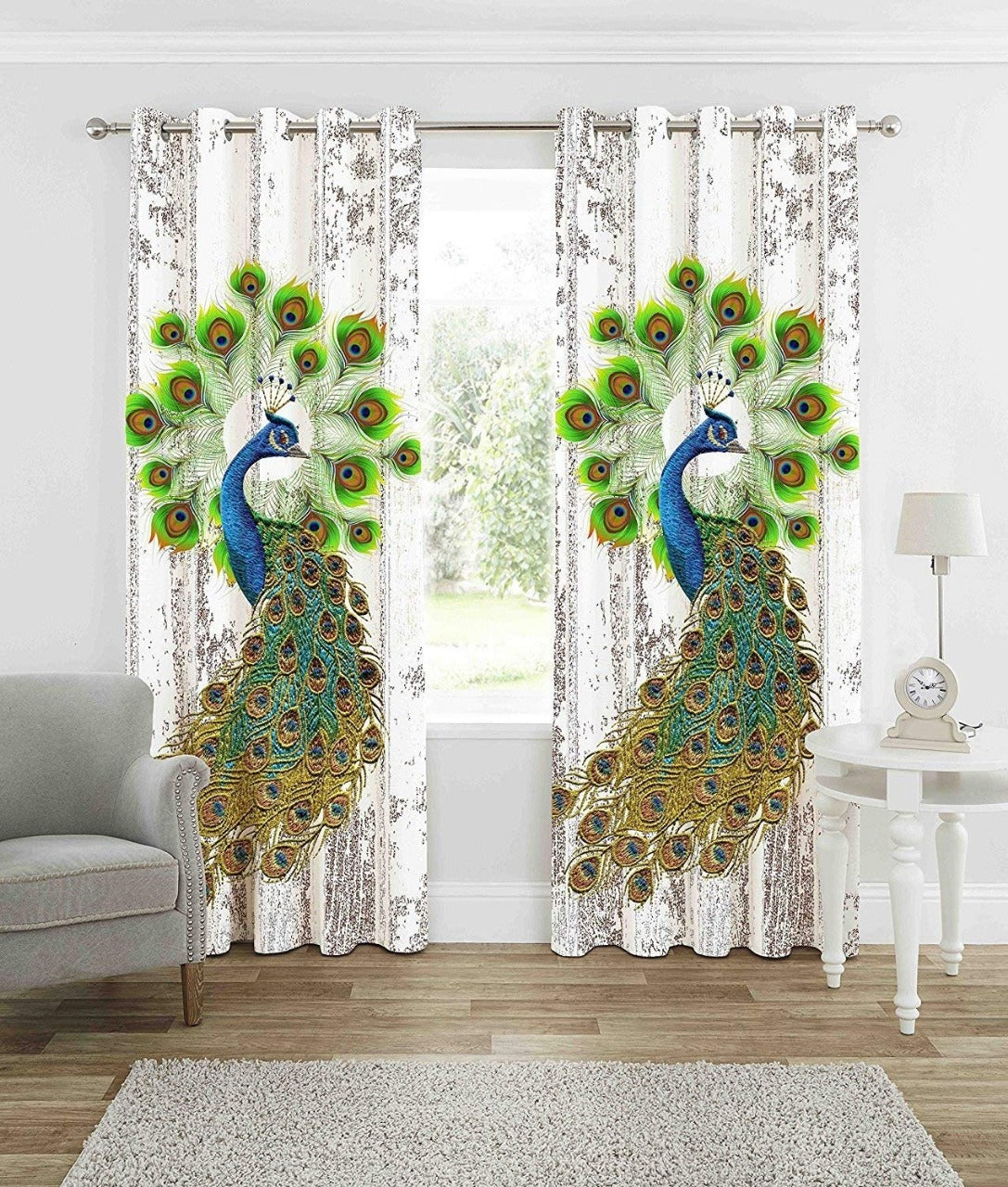 Digital Heavy Long Crush Curtains - Mighty Peacock