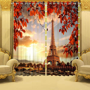 Digital Heavy Long Crush Curtains - The Paramount of Paris(Set of 2)