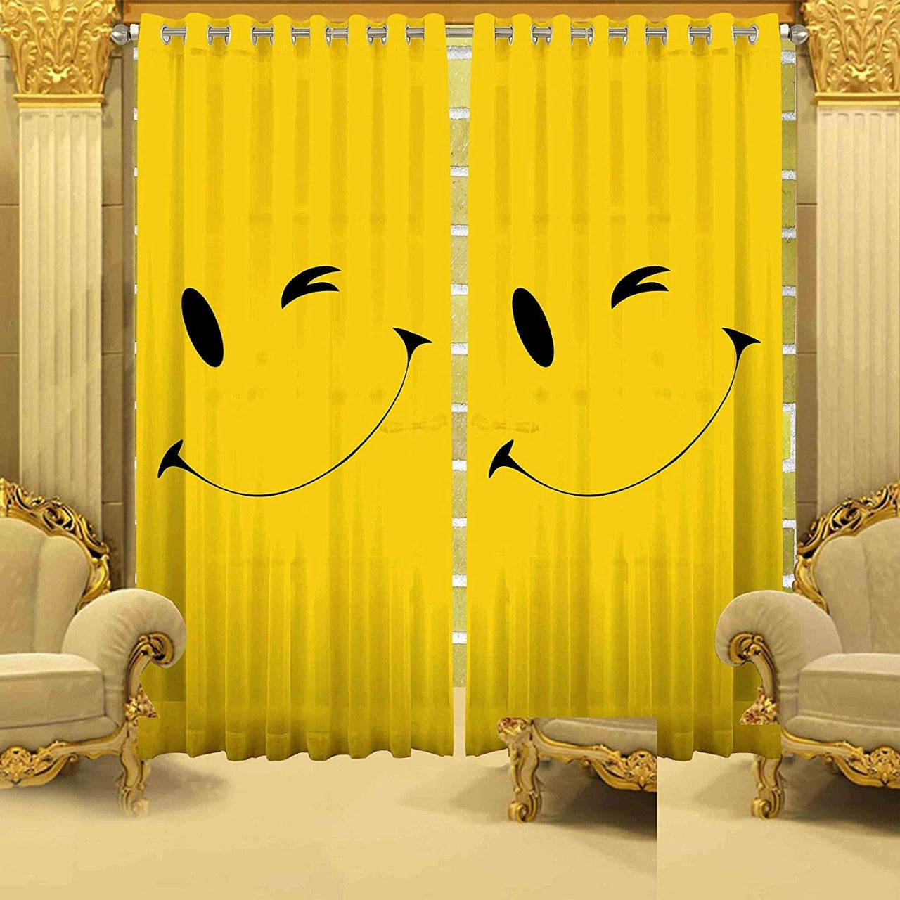 Digital Heavy Long Crush Curtains - Winky Wink