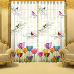 Digital Heavy Long Crush Curtains - Birds & Flora