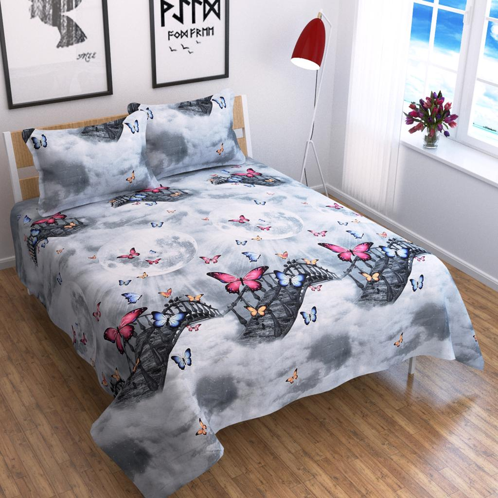 Butterfly & Bridge of Heaven - Glace Cotton Bedsheet