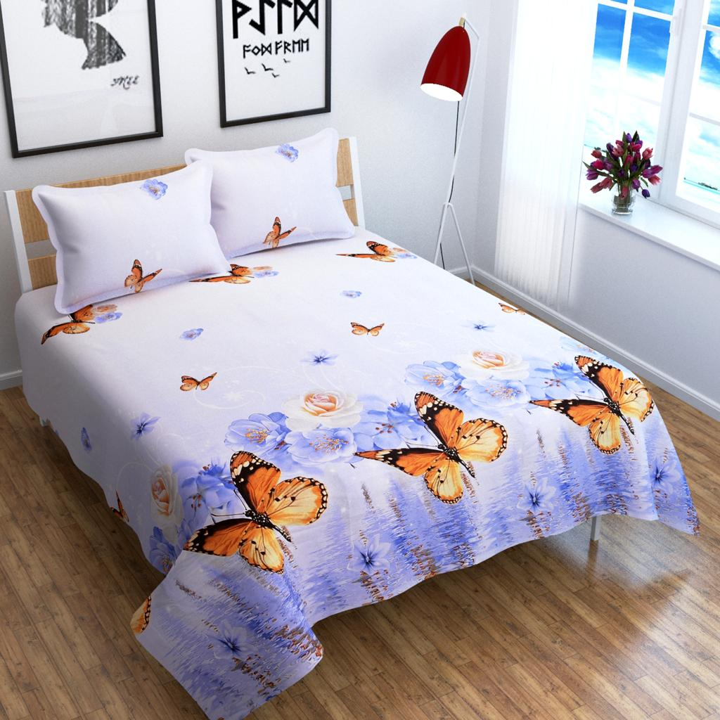 Roses & Butterfly Glace Cotton Bedsheet