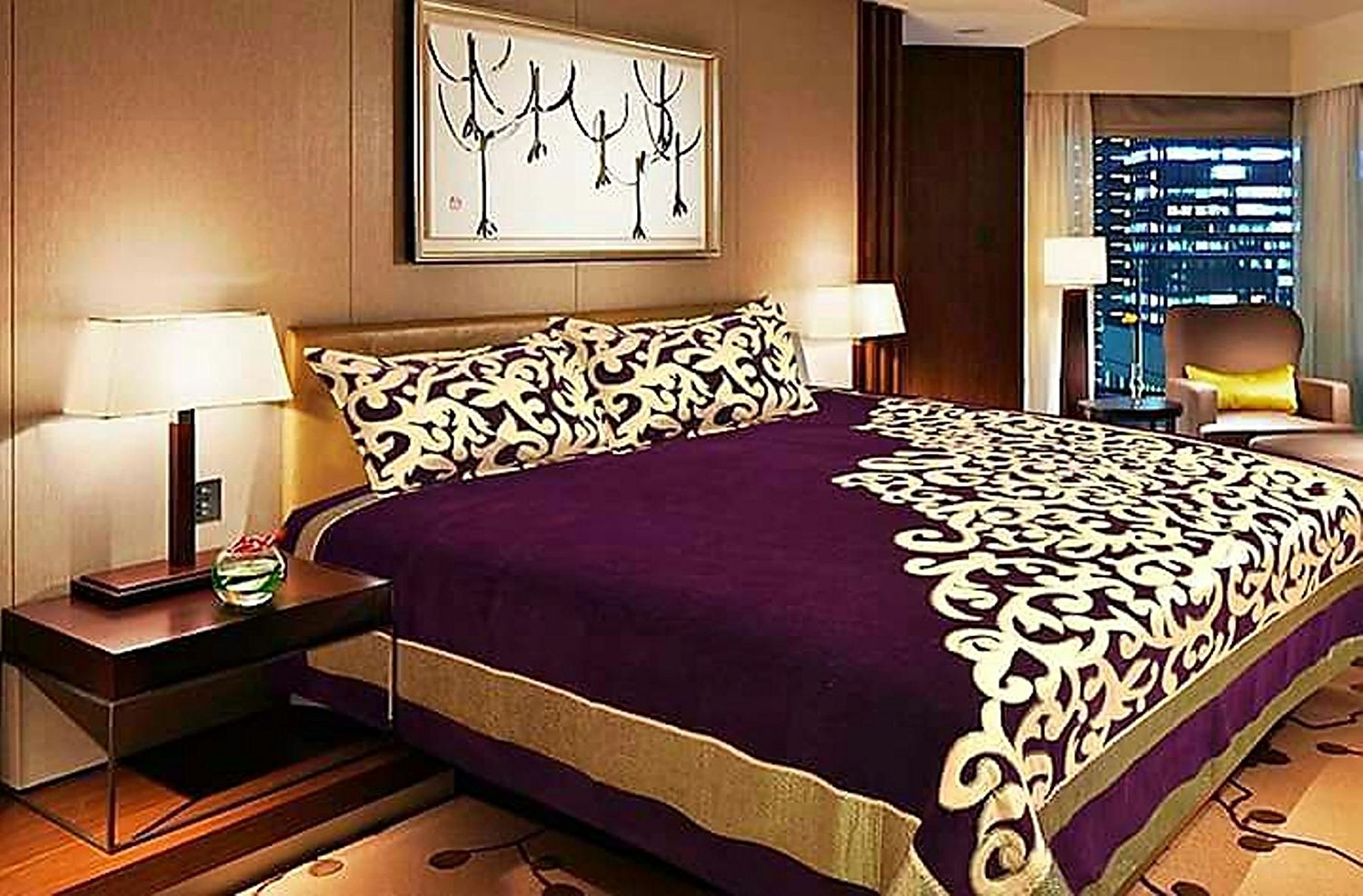 Work of Art Royal Heavy Chenille Bedcovers- Luxury Purple