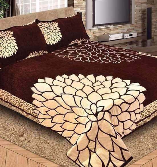 Mirror Leaf Pattern Heavy Chenille Bedcovers - Chocolate