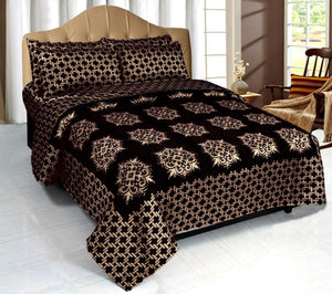 Network of Spades Chenille Bedcovers - Black