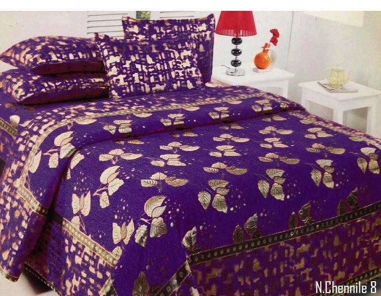 Budding Leaves Chenille Bedcovers - Royal Purple
