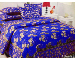 Budding Leaves Chenille Bedcovers - Royal Blue