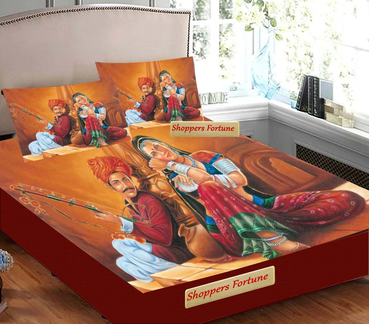 Digital Print Velvet Bedsheet - Traditional Couples