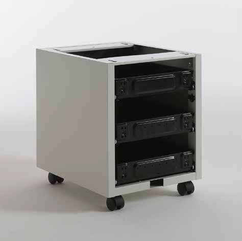TECSAL semi-assembled 3 drawers pedestal kit to be equipped with wood fronts and tops.